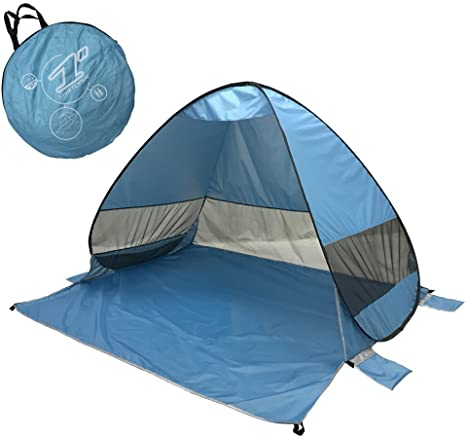 FITFIRST Pop Up Tent, Automatic Portable Beach Tent, Water Resistant Camping Tent With Carry Bag for Backpacking,Ideal Shelter for Casual Family