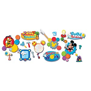 Eureka Mickey Mouse Clubhouse 'Working Together is Better' Bulletin Board and Classroom Decorations, 6pc, 28'' x 18'' x 0.1''