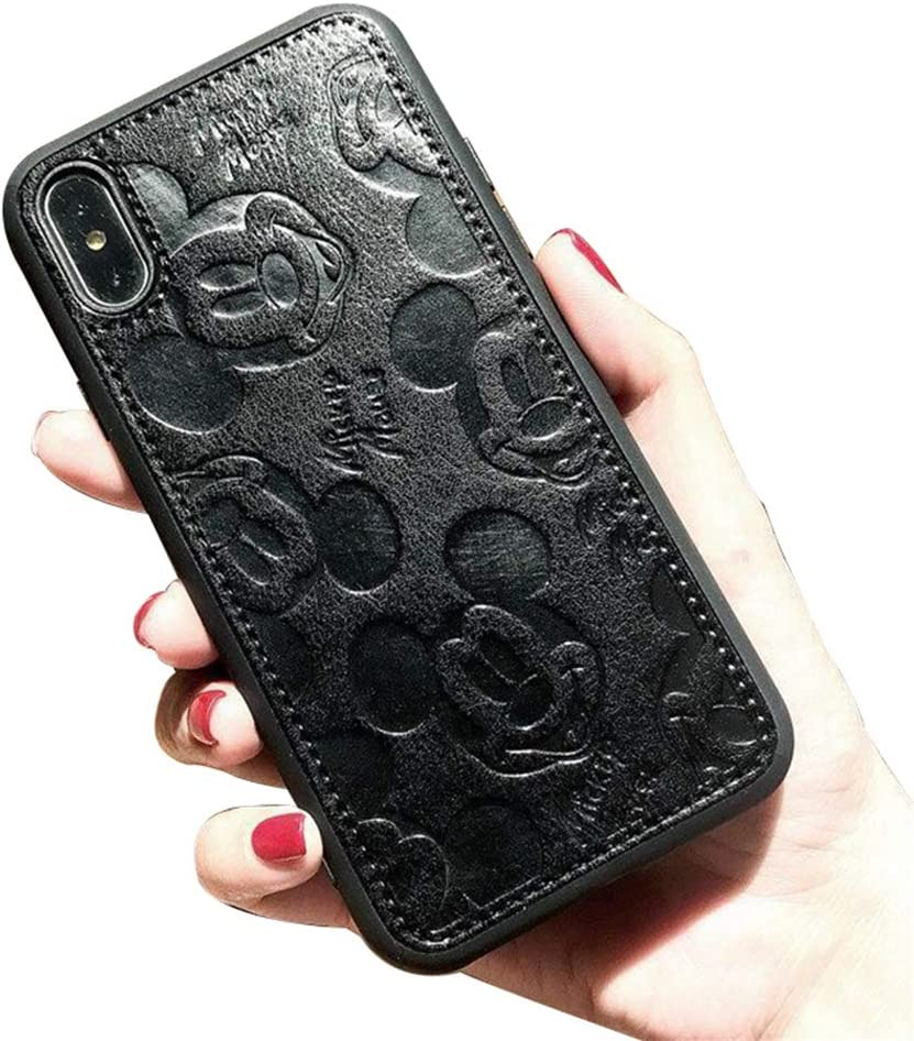 iPhone X Case, iPhone Xs Case, MC Fashion Cute Solid Color Cartoon Mickey Mouse Faux PU Leather Skin Soft Slim TPU Case for Apple iPhone X/Xs (5.8-Inch) (Black)