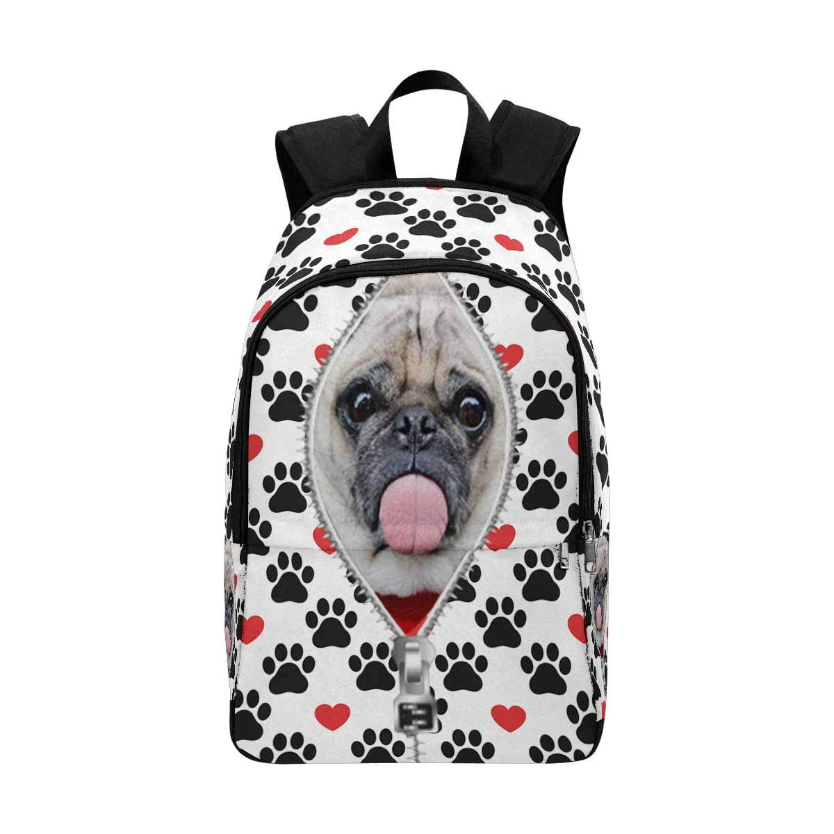 Custom Personalized Photo Pet Face Backpack Bookbags Casual Daypack Dog Paw Red Heart