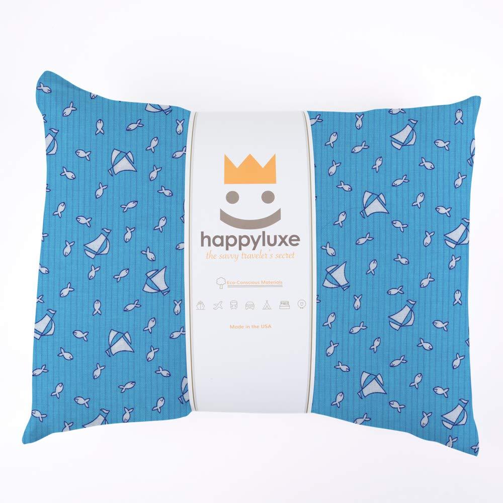 HappyLuxe エクスペディション 旅行用枕と枕カバー 18インチ×13インチ 旅行/幼児/家族/キャンプ/寝間着に最適 100% コットン 洗濯機可 低刺激性 アメリカ製。 18 x 13 ブルー B07GY5MHH7 Yacht Club