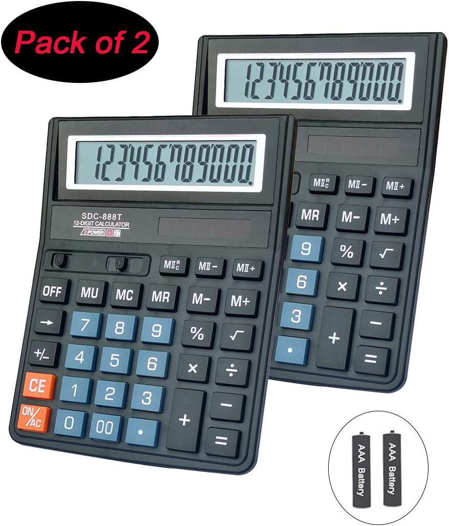 Basic Calculator,BESTWYA 12-Digit Dual Power Handheld Desktop Calculator with Large LCD Display Big Sensitive Button (Black, Pack of 2)