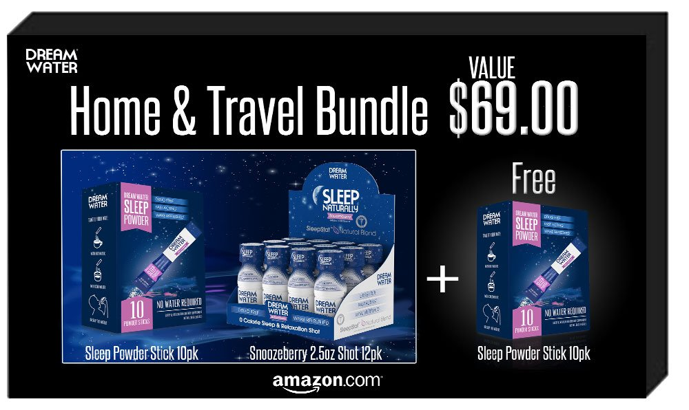 Dream Water Home and Travel Bundle, GREAT VALUE, Sleep Anywhere, FREE Powder 10pk by Dream Water (Image #1)