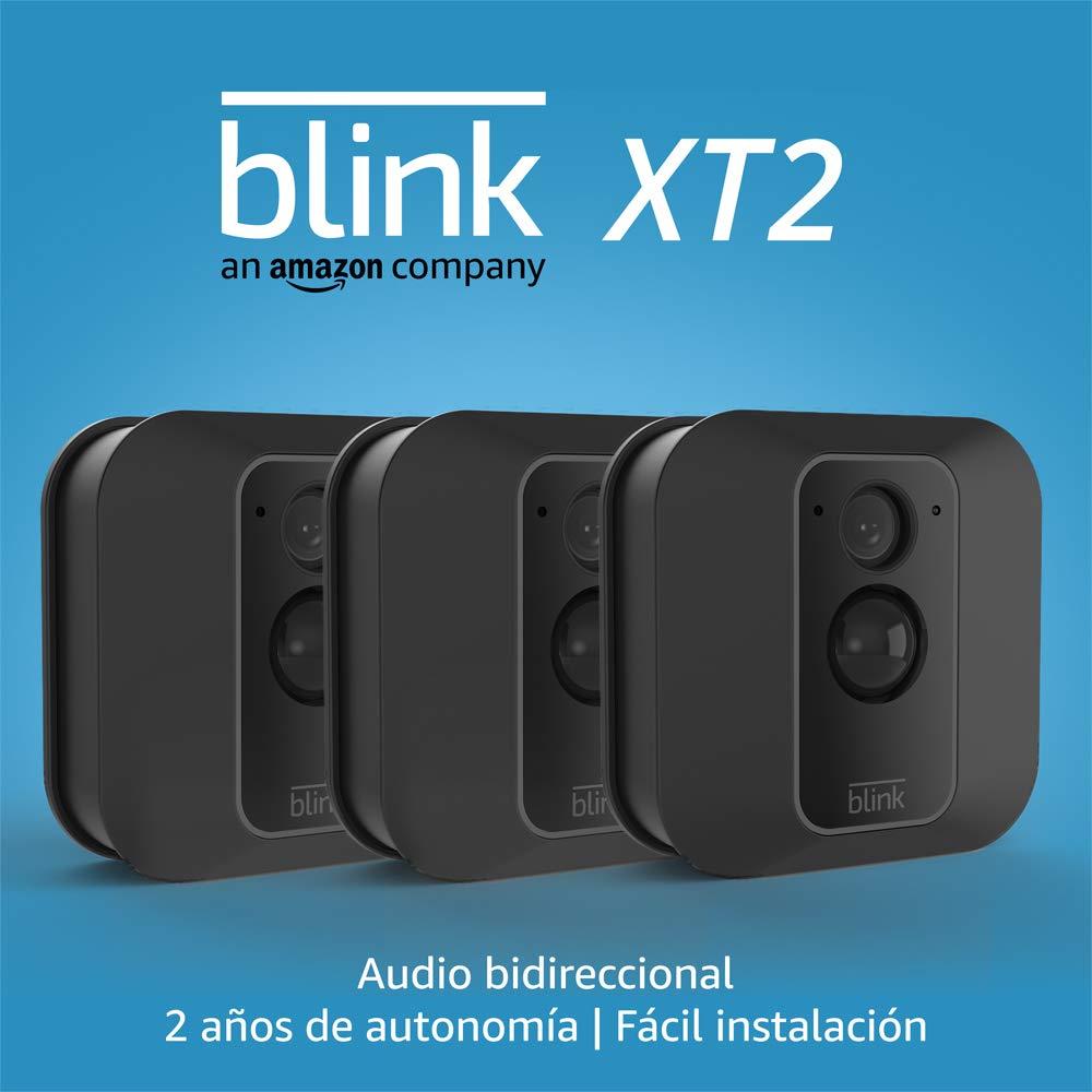 Blink XT2   Cámara de seguridad inteligente, exteriores e interiores, almacenamiento en el Cloud, audio bidireccional, 2 años de autonomía   3 cámaras