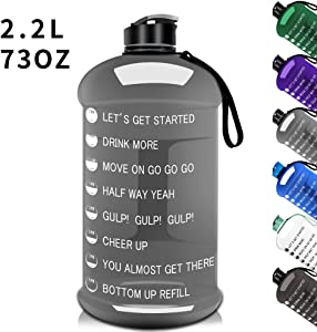 Moonice 2.2L/75OZ Gym Sports Water Bottle Half Gallon Water Jug with Mitivational Time Marker Dishwasher Usable Portable Big Capacity BPA Free Drinking Gym Water Jug for Men Women Fitness Gym Outdoor