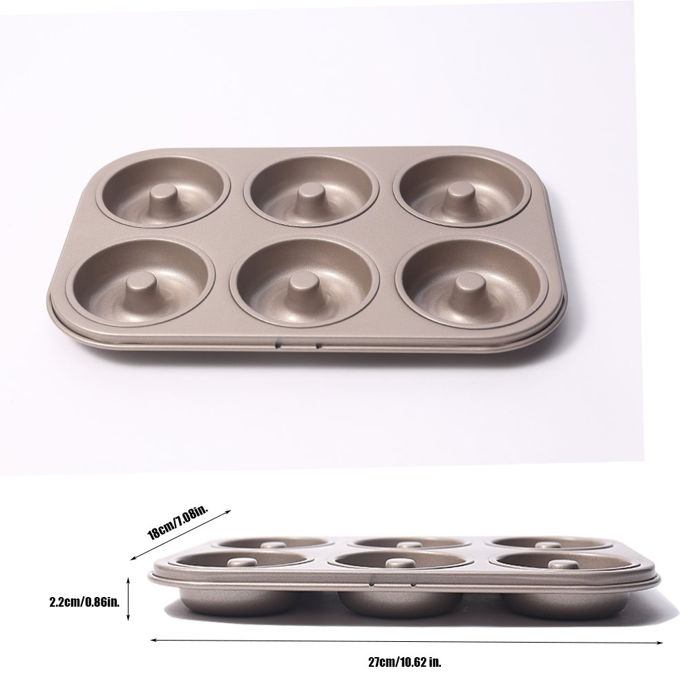 MZCH 6-Cavity Non-stick Donut Pan, Heavy-duty Carbon Steel Mini Donut Makers, FDA Approved, 11 by 7 inches, Round, Champagne Gold