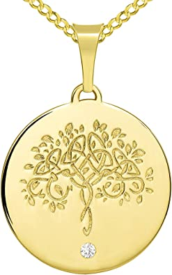 14k Solid Yellow Gold Tree of Life Round Pendant for Necklace 30 mm