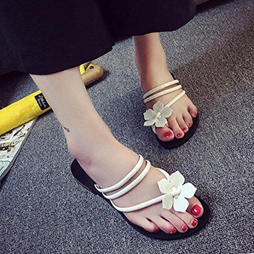 ... Omiky® Frauen Bohemia Dame Flower Weave Sandalen Strand Peep-Toe Flip  Flops Schuhe Hausschuhe ...