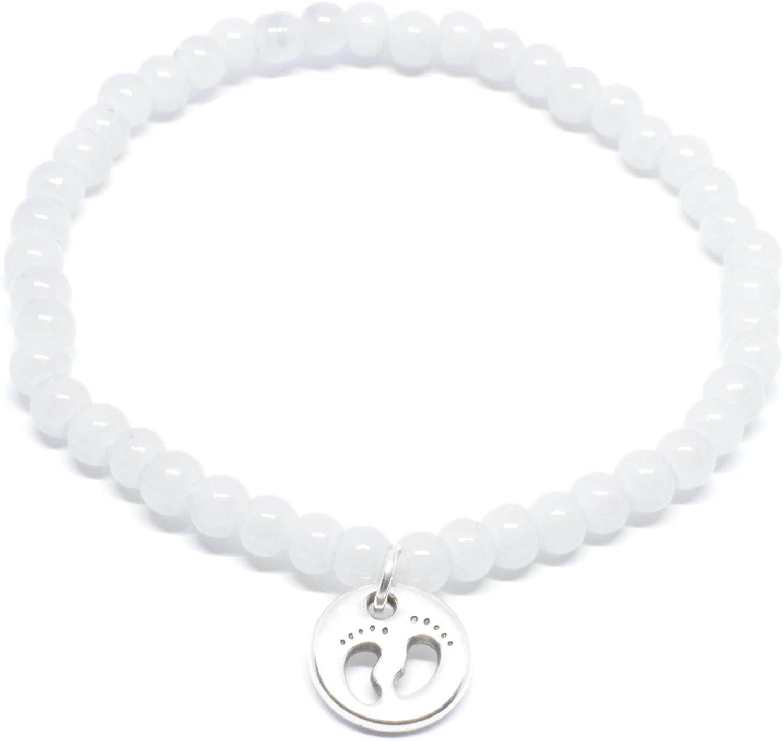 SelfmadeJewelry Pies con cuentas pulsera en con el bebé colgante en plata pulsera hecha a mano de perlas de vidrio para gris claro