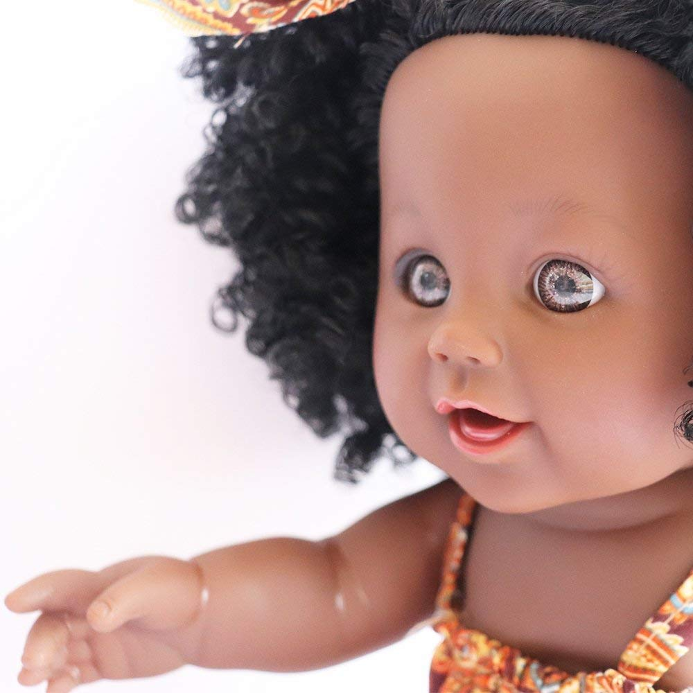 TUSALMO 2019 Newest 12 inch Lifelike Silicone Vinyl Newborn Baby Dolls Reborn Doll. give for Kids and Girl Holiday Birthday Gift African American Baby Black Dolls Pink African Black Dolls