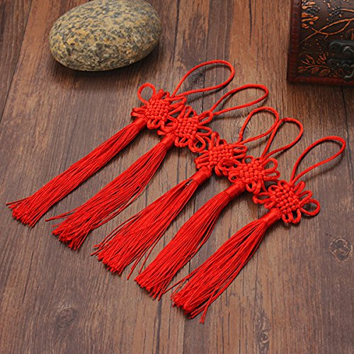 (Hanging Ornaments - 10pcs Red Hand-Knit Chinese Knot Gift Celebration Supplies Car Pendant - Chinese Tassel Large Tassels Keys Earrings Cord Necklace Loop Silk - Red)