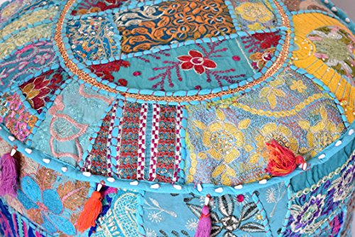 khushvin Vintage Sari Patchwork Ottoman Bohemian Indian Patchwork Ottoman Traditional Handmade Pouf Indian Patchwork Foot stool Ottoman 22x14 by khushvin (Image #2)