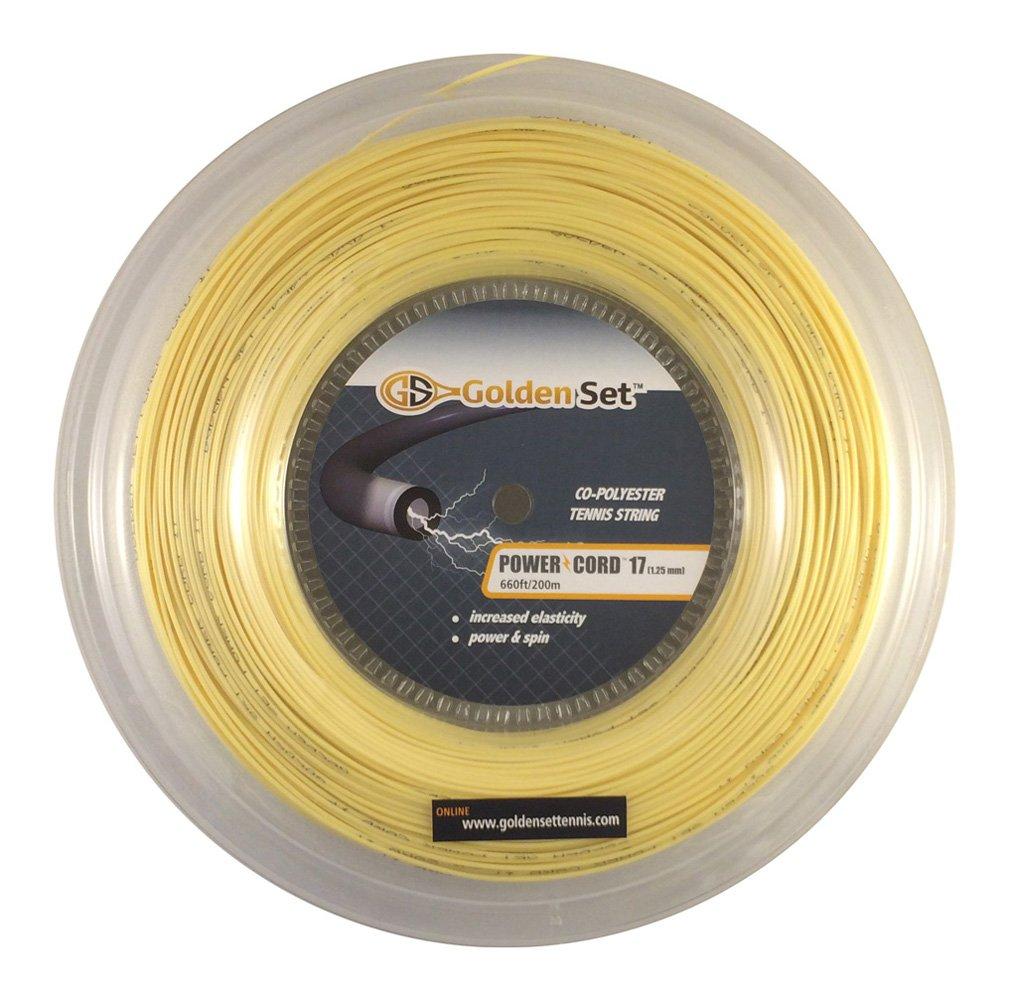 Golden Set Power Cord 17g (1.25mm), Reel (660ft/200m), Polyester Tennis String (Amber)