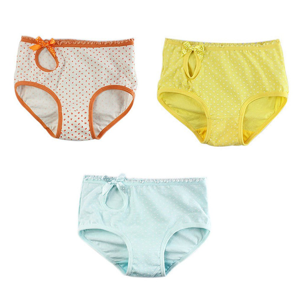 3 Pack Lovely Dots Series 3 Color Lace Briefs Panties For Girls// Height 120CM