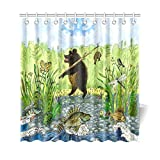 InterestPrint Kids Children Home Bath Decor, Bear Fisherman Funny Animal Polyester Fabric Shower Curtain Bathroom Sets 69 X 72 Inches