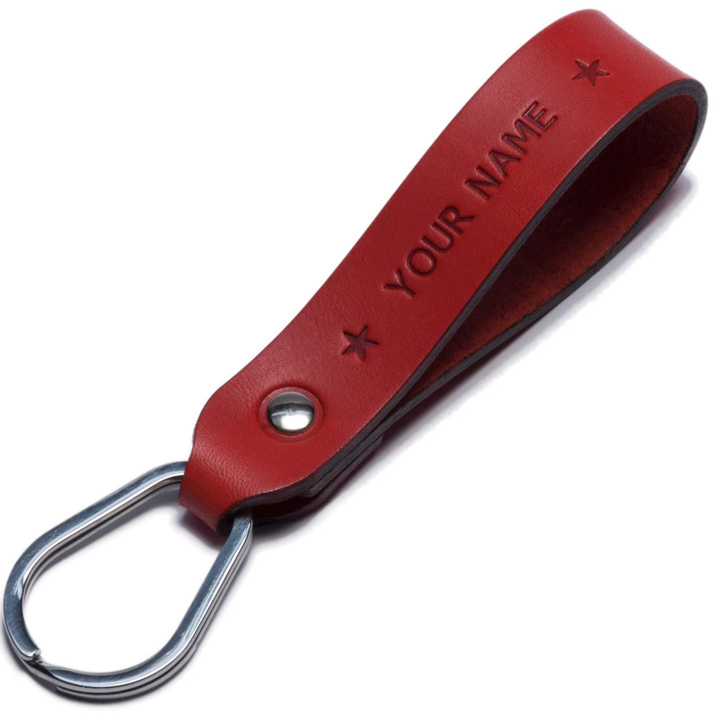 monogram boyfriend key chain Custom leather name