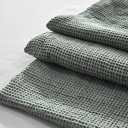 YUE Home Textile Linen Waffle Blanket, Queen, Sage