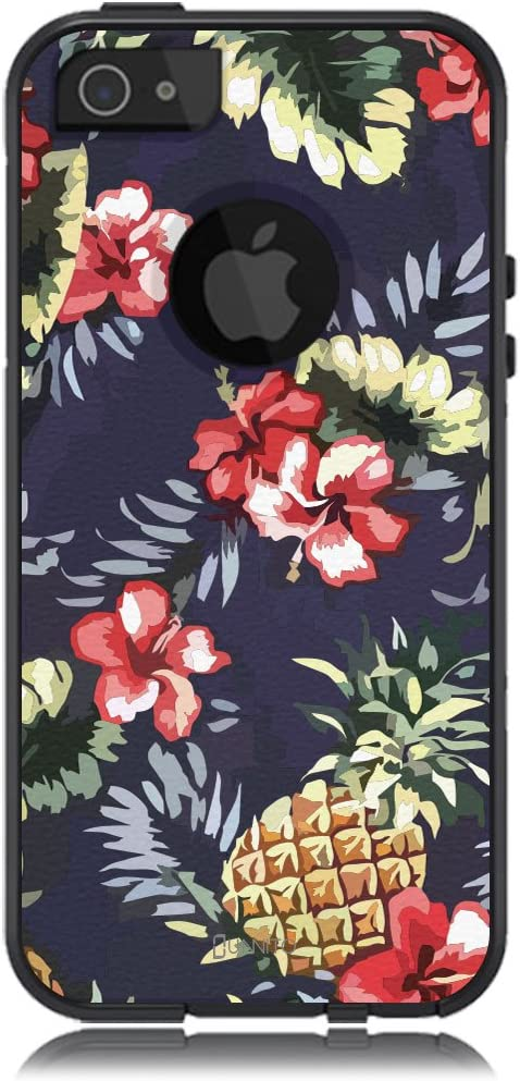 Unnito iPhone 5 Case – Hybrid Commuter Case | Slim Cover with Hard Shell Design and Soft Inner Layer Compatible with iPhone 5S / SE Black Case - Pineapple Hibiscus