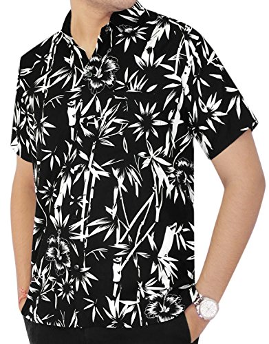 La Leela Matching hawaiian shirt and dresses mens 70s 80s 90s retro Vintage Island mens Shirt XS Black Fathers Day Gifts Spring Summer (Mens Clothes From The 80s)