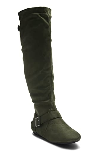 83e8a61f2f1b Herstyle Ieshia Thigh High Suede Round Toe Flat Boots Olive 5