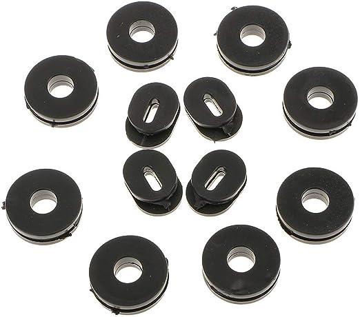 Negro Homyl 12 piezas de goma de la tapa lateral de coche moto