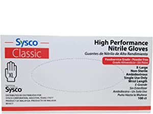 SYSCO HIGH Performance Nitrile Gloves Size XL Powder Free - 100 Gloves per Box