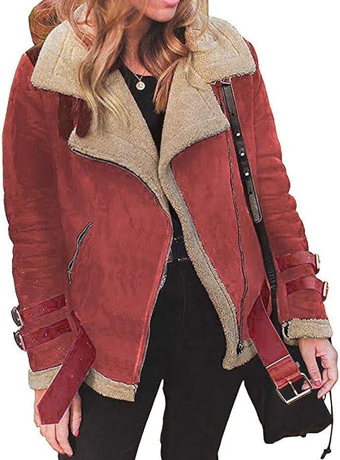 Miye yuren Womens Lapel Thick Coat Outwear Faux Suede Jacket Fleece Lined Overcoat
