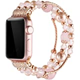 Simpeak Bands for Apple Watch 38MM Series 3 & 2 & 1 All Editions,Women Jewelry Band Crystal Diamond Unique Replacement Strap Band (38mm, Pink)
