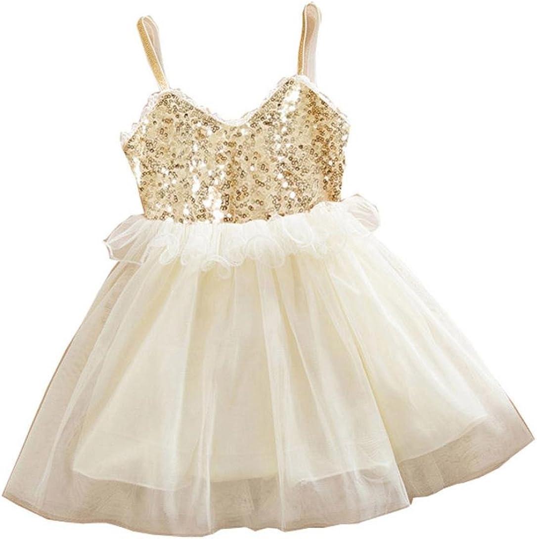 Amlaiworld Robe de Filles Robe de Princesse de Filles de Fleur Robe de Dos Enfants Robes sans Manches V/êtements pour 1-6Ans Fille
