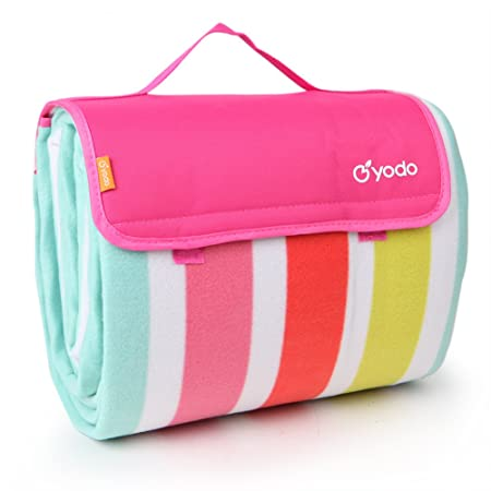 yodo Extra Large Outdoor Waterproof Picnic Blanket Tote 79 x 79 79 x 59 Light Weight with Soft Fleece and Padding,Spring Summer Stripe