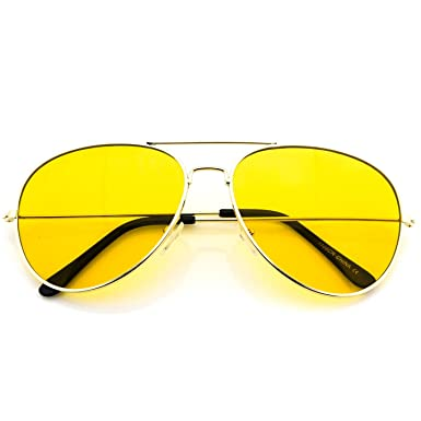 classic aviator style metal frame sunglasses colored lens gold frame yellow tint 59 - Yellow Frame Sunglasses