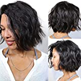 NiceToBuy Glueless Short Wavy Bob HairCut Brazilian Virgin Human Hair Lace Front Wigs for Women #1 Jet Black Color 10inch