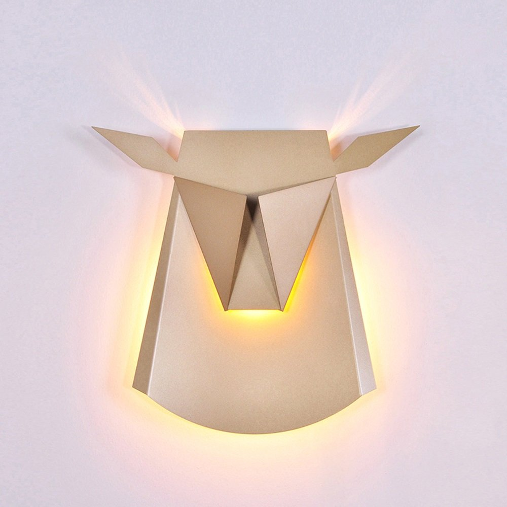 Nordic Postmodern Ngau Tau Deer Head Decoration Wall Lamp Study Bedroom LED Aluminum Alloy Wall Light Bedside Restaurant Aisle Cafe Lighting (including light source) ( Color : Gold )