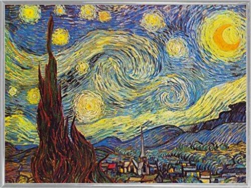 Vincent Van Gogh Poster Kunstdruck und Kunststoff-Rahmen - Die Sternennacht, 1889 (80 x 60cm)