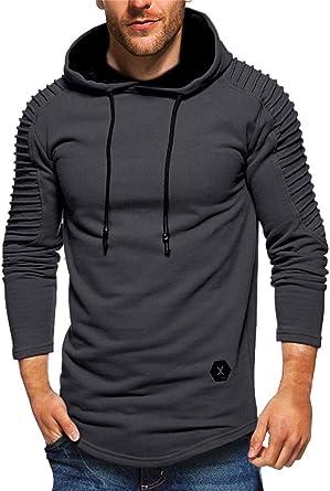 Men Muscle Long Sleeve Hooded Sweatshirt Hoddies Sports Jumper Pullover Top L