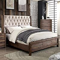 Furniture of America Oliva Tufted King Bed in Natural Rustic Tone