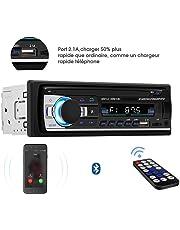 Autoradio Bluetooth télécommande, Lecteur MP3, Prise en Charge de Carte TF USB Double auxiliaire, Radio FM stéréo pour Connexion Voiture et DIN, Deux Ports USB pour Musique et Charger