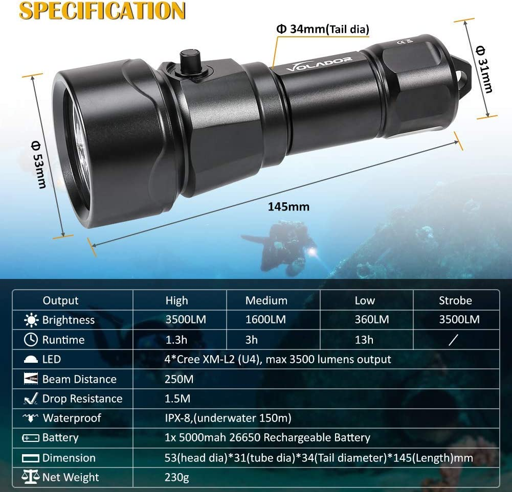 VOLADOR Diving Flashlight 3500 Lumen Rechargeable Diving Light 4 CREE XM-L2 LED Scuba Underwater Flashlight 150 Meters Submersible Lights with 1x 26650 Battery and Charger