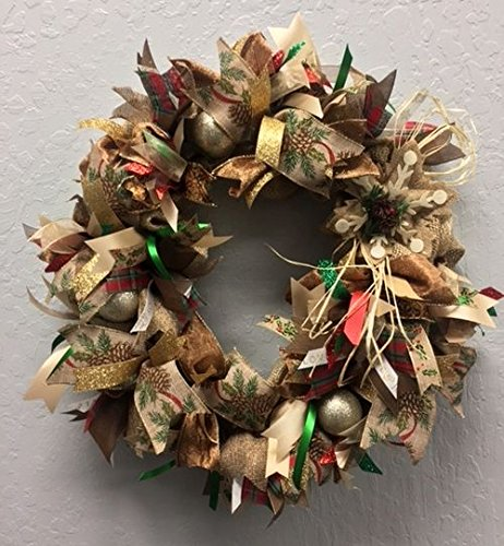 country christmas light up burlap wreath door decoration with sparkle super cute whimsical holiday