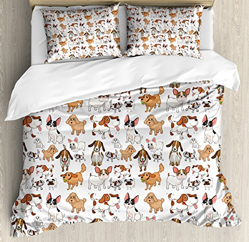 - Ambesonne Dog Lover Duvet Cover Set Queen Size, Cartoon Style Chihuahua Terrier Bulldog and Beagle Funny Characters Purebred Pets, Decorative 3 Piece Bedding Set with 2 Pillow Shams, Multicolor