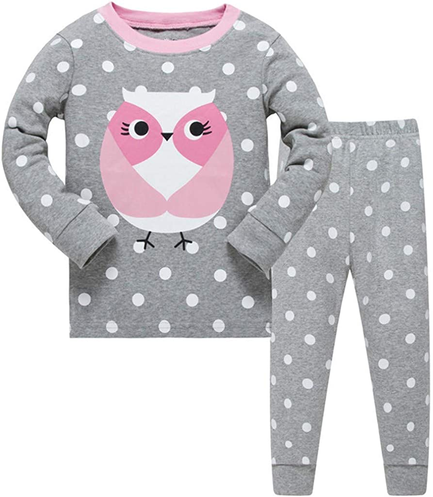 Jchen Little Kids Pajamas Sets 2PCS Kids Boys Girls Cartoon Owl Tops+Long Pants Homewear Sleepwear Outfits TM
