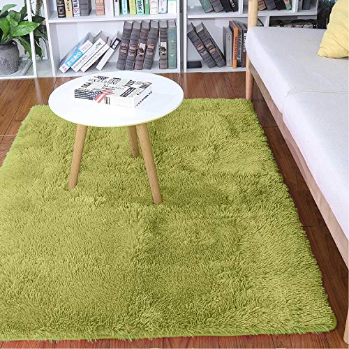 Noahas Super Soft 4.5cm Thick Modern Shag Area Rugs Fluffy Living Room Carpet Comfy Bedroom Home Decorate Floor Kids Playing Mat 4 Feet by 5.3 Feet (Green) (Square Green Shag Rug)