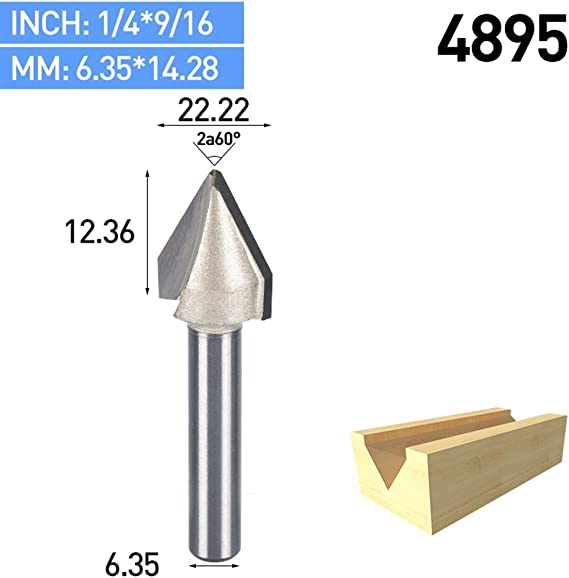 1pcs CNC 60° Router Engraving WoodWorking V Groove Bit 6*10mm Cutter Tool Parts