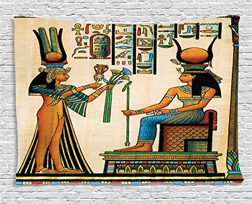 - Ambesonne Egyptian Decor Tapestry, Old Egyptian Papyrus Depicting Queen Nefertari with Historical Empire Artwork, Wall Hanging for Bedroom Living Room Dorm, 80 W X 60 L Inches, Multi Color