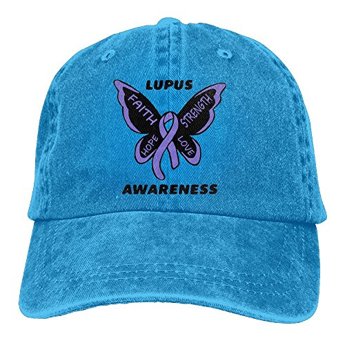 Haibaba Lupus Awareness Butterfly Adjustable Cowboy Hat Baseball Cap for Adults