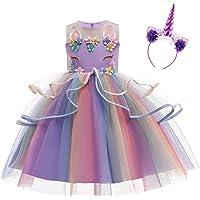 Eenhoorn carnavalskostuum voor meisjes, prinsessenjurk, verjaardag, lange mouwen, Halloween, cosplay, sprookje, peuter…