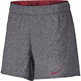 NIKE Women's Dry Attack Trainer 5'' Athletic Shorts, Dark Grey/Heather/Rush Pink, Medium