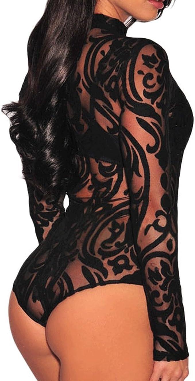 Plus Size Sheer Mesh Rhinestones Long Sleeves Bodysuit 650 1X, Black Gold Rhinestones