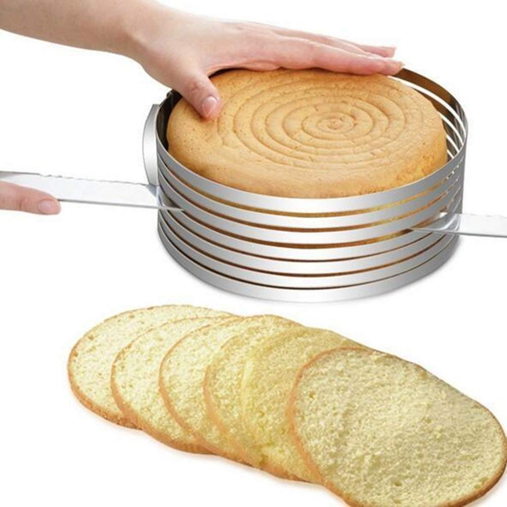 WeiJX Cake Slicer Adjustable Stainless Steel Layer Mousse Mould Slicing Multilayer Circular Molding Plating Forming Round Rings Layered Slicer Cake Ring Set by WeiJX (Image #7)