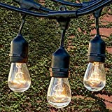 Waterproof Commercial String Lights Heavy Duty Garden Light Indoor Outdoor Vintage Connectable Strand Light Set with E27 Sockets by Colleer (Bulbs Not Included) (39.4ft/9 Sockets)